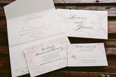 letterpress and rose gold foil elegant wedding invitations | Bella Figura | designed by amy graham stigler