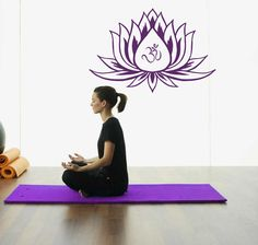 Vinyl Decal Lotus Flower With Om Sign Yoga by BestDecals on Etsy, $24.99