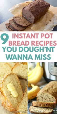 Best INSTANT POT BREAD recipes for the instant pot duo or lux! Bread in an electric pressure cooker is fast, easy, and perfect for busy families! Learn how to make healthy, gluten free, low carb paleo or keto friendly, or vegan dough. Sourdough, no knead, whole or white wheat, banana loaf, zucchini bread, and bonus bread pudding! #instantpot #instantpotrecipes #vegetarian #vegetarianrecipes #healthyrecipes