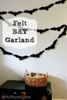 Felt Bat Garland. Too Cute.