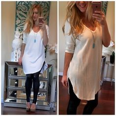 The Perfect Ivory Tunic Top Loose fit, three-quarter length dolman sleeve, scoop v-neck tunic top. Has dropped shoulder. Rounded hi-low hems. This tunic top is made with brushed hacci fabric that has a very soft fuzzy texture, has great drape, and is very warm. Fabric : 75% Rayon, 21% Polyester, 4% Spandex Made In : U.S.A Boutique Tops Tunics