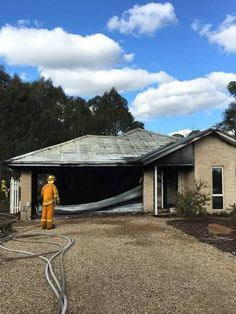 DAMAGED: The scene of a garage fire in Buninyong, which is believed to have started in a solar panel. Flood Damage, Solar Panels, Garage, Scene, Fire, Cabin, House Styles, Outdoor Decor, Home Decor