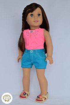 """American girl doll clothes """"  Zippered short jeans with a key chain & Tank """" ( 2 pieces )"""
