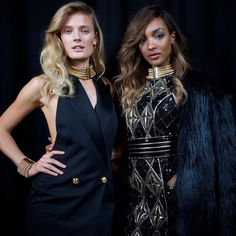 """""""THE #HMBALMAINATION SQUAD  #ConstanceJablonski and #JourdanDunn backstage at the Balmain x @hm launch event in NYC"""""""