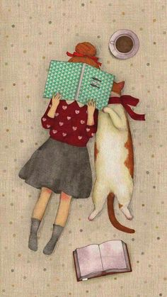 Girl with her cat reading a book illustration. - Girl with her cat reading a book illustration. Bookworm drawings, adorable book … – girl with h - Illustration Mignonne, Cute Illustration, Illustration Pictures, Art Mignon, Cat Reading, Reading Books, Girl Reading, Crazy Cats, Cat Love