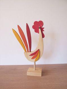 Gallo de  madera Folk Art Suecia // Pájaro años 60 // Pájaro madera natural y color