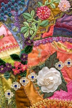I ❤ crazy quilting, beading & ribbon embroidery . Memories of my childhood in Bern Switzerland~ Alpenstrasse~ 6 Little Squirrels, Crazy Quilting, Crazy Quilt Stitches, Crazy Quilt Blocks, Ribbon Embroidery, Embroidery Stitches, Embroidery Ideas, Art Textile, Quilt Stitching, Fabric Art