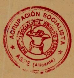 Figura 46. (Página 257).- Sello de la Agrupación Socialista de Aspe (1932 – 1939). AGHD C. 4655.