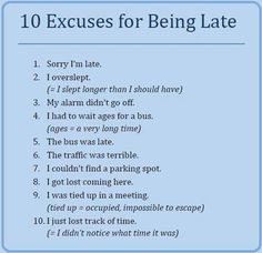 Forum | ________ Learn English | Fluent Land10 Excuses for being Late | Fluent Land