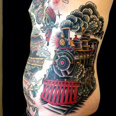 Pirate ship in storm tattoo w colour storm tattoo for Crazy train tattoos