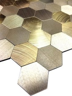 """Gray and rose gold """"x stone mosaic mixed glass & stainless steel accent wall tiles, clear glass and metal backsplash tilesGray and rose gold x stone mosaic Hexagon Backsplash, Mosaic Tiles, Wall Tiles, Marble Mosaic, Backsplash Ideas, Peel And Stick Tile, Stick On Tiles, Kitchen Backplash, Decorating Kitchen"""