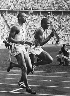 Americans Jesse Owens and Ralph Metcalfe during the relay at the 1936 Olympic Games in Berlin Olympic Gymnastics, Olympic Sports, Olympic Games, 1936 Olympics, Summer Olympics, Berlin, Jesse Owens, Jordyn Wieber, Nastia Liukin