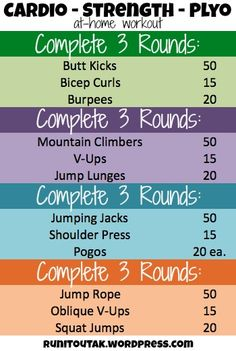 Cardio - Strength - Plyo circuit workout.  Can be done at home!