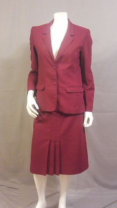 1970s Jacket and Skirt Suit | Vintage Pant'her Cranberry Red Suit