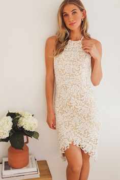 White lace high neck cocktail dress | Affiliate link