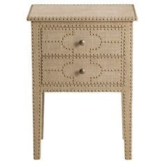 An elegant addition to your living room or master suite, this upholstered chest features 2 drawers and classic nailhead trim.  Produ...