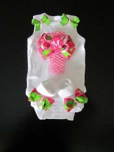 Monogram Baby Girl Clothing Gift Set/ Newborn by BowtiqueMama, $33.00 I can make this stuff! All goodies at Hobby Lobby.