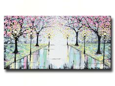 "GICLEE PRINT Abstract Art Painting Pink Cherry Trees Canvas Prints Grey Yellow White Landscape Wall Decor X LARGE sizes up to 60"" -Christine"