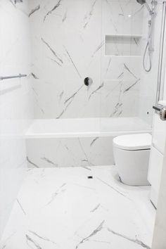 11 White Marble Bathroom Floor Ideas White Marble Bathroom Floor Ideas - The finish bathroom floor featuring pure white Carrara Remodeling 101 Simple Roller Shades This all white bathroom. Modern Master Bathroom, Bathroom Layout, Modern Bathroom Design, Bathroom Interior Design, Small Bathroom, Marble Bathroom Floor, White Marble Bathrooms, Bathroom Flooring, Marble Tiles