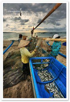Jimbaran, a fishing village in Bali, Indonesia