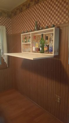 Bar Unfinsihed Man Cave Wall Mount Liquor Cabinet Fold Down Bar Beautiful addition to any space Unfinished fold down Murphy Bar with piano hinge support chain hook latch. Man Cave Wall, Man Cave Diy, Man Cave Home Bar, Diy Home Bar, Bars For Home, Home Bar Cabinet, Liquor Cabinet, Armoires Diy, Wine Racks
