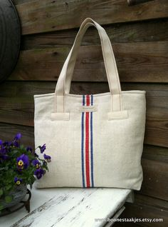 recycled antique linen shoulder bag,    by boonestaakjes, $95,00