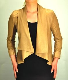 Krisa - Coated Drape Jacket in Brown $215, available at Shades of Grey