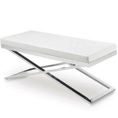 Sunpan Modern Alexa X-Base Faux Leather Bench