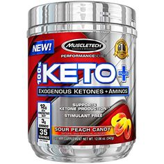 MuscleTech Keto Plus Ketones Supplement, Exogenous Ketones & Aminos, Sour Peach Candy, 35 Servings For Sale Ketosis Supplements, Natural Supplements, Weight Loss Supplements, Ketone Supplement, Keto Pills, Ketone Bodies, Gym Workout For Beginners, Best Weight Loss Pills, Peach