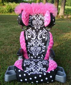 Reupholstered Car Seat Covers Damask Polka Dot Rose by diaperbags, $150.00. such a great idea as usually, all car seats covers (and most strollers) are kinda ugly looking nowadays... way to go !!!
