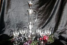 """Stunning Hand Blown """"Romanian"""" Etched Glass Handled Decanter & 5 Small Glasses"""