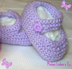 Minhas linhas e eu: Sapatinho de tricot para bebê - tipo boneca