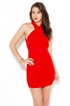 AKIRA Backless Ruched Jersey Dress in Red | shopakira.com $39.90