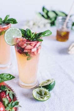 Honey-Sweetened Limeade with Strawberries and Basil!