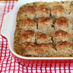 Baked Meatballs with Rice and Gravy: The entire dish cooks right in the oven, even the rice!