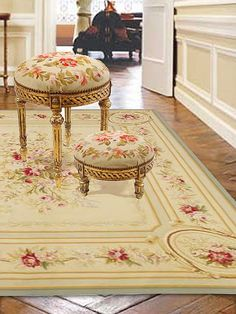 Aubusson rug with almost matching tapestry seat cushions..........so pretty