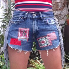 Patchwork Denim Cut Off Shorts, Customized Diesel Jeans Shorts, with fringe. by ShortAndNey on Etsy