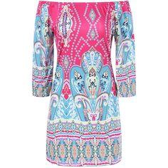 Colorful Patterned Bohemian Dress ($14) ❤ liked on Polyvore featuring dresses, multi print dress, boho dresses, boho chic dresses, colorful dresses and bohemian dresses