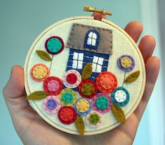 Felt house hoop art