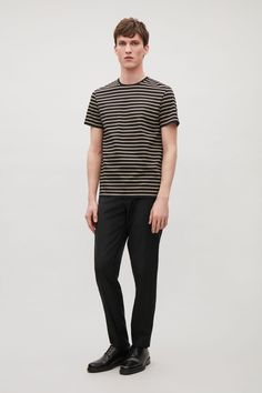 COS image 1 of Striped cotton t-shirt in Sand Polo Shirt 93ea20826