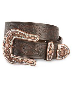 Justin Copper Creek Tooled Leather Belt