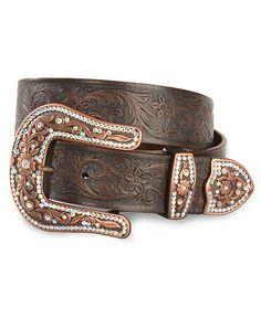 Justin Copper Creek Tooled Leather Belt