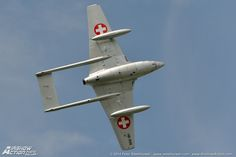 De Havilland Vampire of the Swiss Air Force Historic Flight. De Havilland Vampire, Swiss Air, Venom, Golden Age, Airplane, Planes, Air Force, Fighter Jets, Aviation