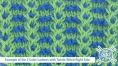 #Knitting #Tutorial -  2 Color Ladders with Twist Stitches. This is a lot of visual impact for a 4 row pattern! There's a video tutorial for this too.