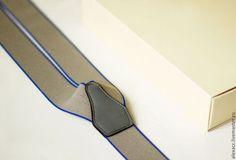 Комплекты аксессуаров ручной работы. Ярмарка Мастеров - ручная работа. Купить Мужские подтяжки (серые с синей каймой). Handmade. Серый