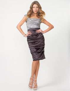 Satin & Lace Cocktail Dress - A shimmering lace bodice and ruched satin skirt define this chic cocktail dress. Dress Up, Bodycon Dress, Short Cocktail Dress, Cocktail Dresses, Satin, Great Hairstyles, Wedding Attire, Wedding Hair, Contemporary Fashion