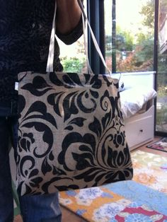 Printed burlap tote bag