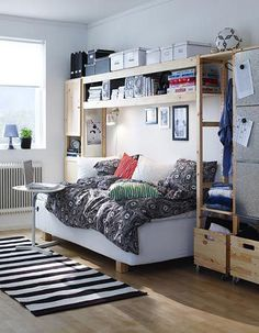 incorporated into Ikea Ivar units.Daybed incorporated into Ikea Ivar units. Apartment Needs, Apartment Design, Ikea Ivar Shelves, Ivar Regal, Ikea Daybed, Ikea Bedroom, New Room, Room Inspiration, Living Spaces