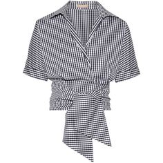 Michael Kors Collection Cropped gingham cotton-blend poplin wrap top (£255) ❤ liked on Polyvore featuring tops, crop top, shirts, blouses, navy, crop shirt, navy shirt, wrap tie top, tie crop top and navy gingham shirt