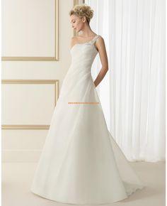 Robe de marie organza perles col asymtrique 2014